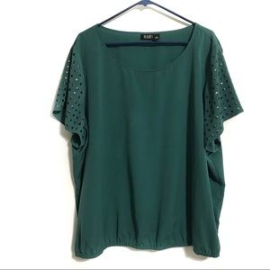 Ana A New Approach Womens Green Blouse Top Size 3X